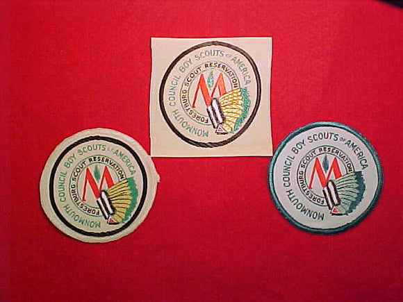 FORESTBURG SCOUT RESERVATION WOVEN PATCH COLLECTION- 3 DIFFERENT, MONMOUTH COUNCIL