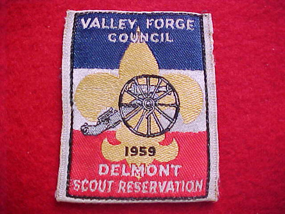 DELMONT SCOUT RESERVATION, VALLEY FORGE C., 1959, WOVEN, USED