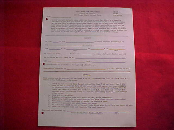 CIRCLE TEN COUNCIL CAMPS, 1956, APPLICATION FOR SHORT TERM CAMP, CAMPS WISDOM, TEXOMA & CONSTANTIN