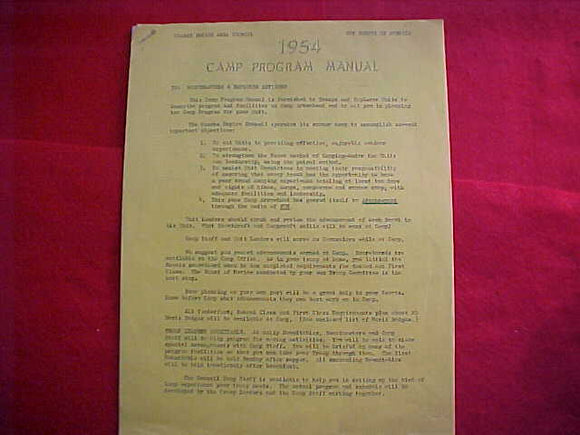 CAMP ARROWHEAD, 1954, PROGRAM MANUAL, OZARKS EMPIRE AREA C., 7 PAGES