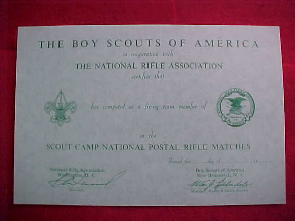 SCOUT CAMP NATIONAL POSTAL RIFLE MATCHES CERTIFICATE, 1950'S-60'S, NRA/BSA ISSUE #1, BLANK