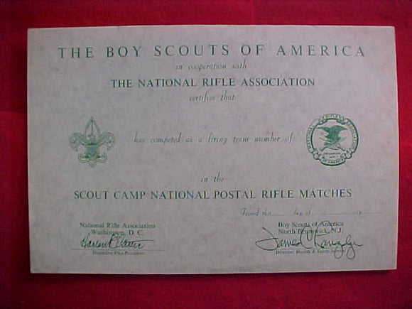 SCOUT CAMP NATIONAL POSTAL RIFLE MATCHES CERTIFICATE, 1950'S-60'S, NRA/BSA ISSUE #2, BLANK