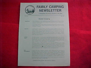 BSA FAMILY CAMPING NEWSLETTER, 1984, VOL. 1, NO. 1