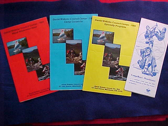 DANIEL WEBSTER COUNCIL CAMPS BROCHURES, 1984, (MEAD WILDERNESS BASE, CAMP CARPENTER, SPECIALTY PROGRAMS, CAMP ROY C. MANCHESTER)