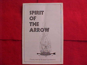 BOOKLET, SPIRIT OF THE ARROW, 1978, COPYRIGHT 1972, 12/1978 PRINTING