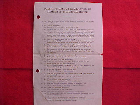 QUESTIONAIRE FOR EXAMINATION OF MEMBERX IN THE ORDEAL HONOR, 1949, (QUESTIONS FOR THE BROTHERHOOD AWARD), FAIR CONDITION