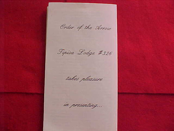 OA LODGE 326-TIPISA, 1996, AWARD RECIPIENT FLIER