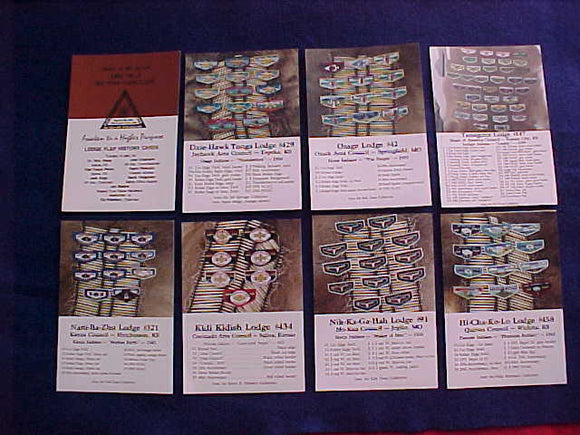 SECTION NC-3, LODGE FLAP HISTORY CARDS, 1992, SET OF 8 PHOTO CARDS