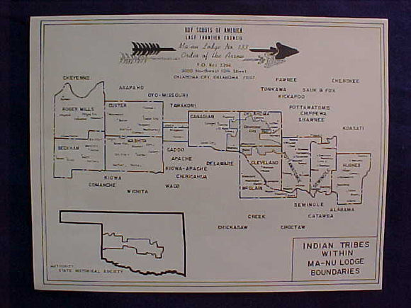 OA LODGE 133-MA-NU, MAP OF INDIAN TRIBES WITHIN THE LODGE BOUNDARY