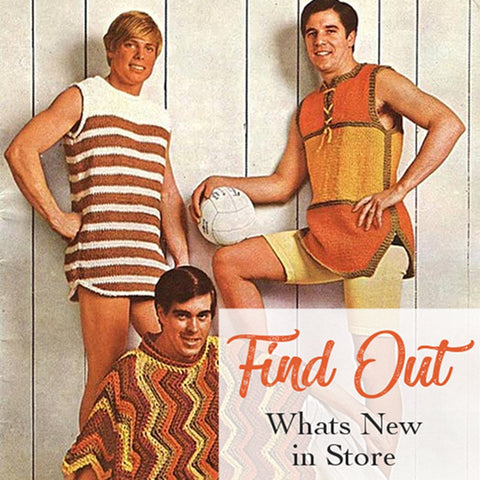 three men wearing 60's orange hand crocheted vests and poncho