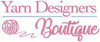 Yarn Designers Boutique Logo Pink Font with a pink line drawn yarn ball