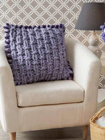 free pillow cover knitting pattern arm knit basketweave stitch
