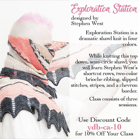 stephen west exploration station shawl knitting class learn all the stitches