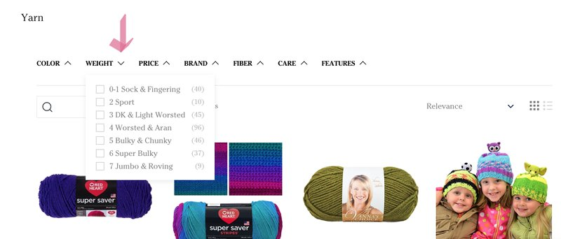 screenshot how to buy yarn online refining by yarn weight for bulky or chunky yarns