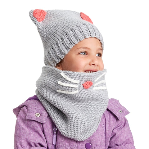 free knitting pattern for kids kitty hat with whiskers cowl