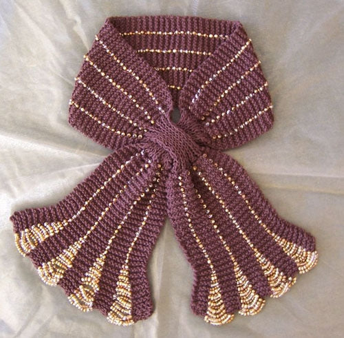 ladies knitted scarf beads knitting pattern lightweight scarf