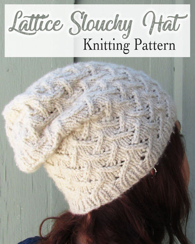 lattice slouchy hat beanie knitting pattern in a natural cream off white color