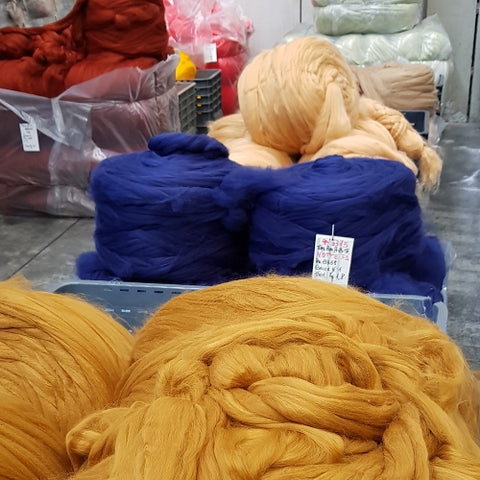 how yarn is spun acrylic pre-dyed fibers