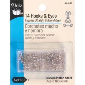 image of a package of dritz hooks and eyes for sewing, the pack shows that there are 14 hooks and 14 eyes - half are straight and half are curved and they are made up of nickel plated steel