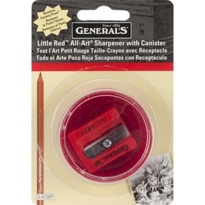 generals little red pencil sharpener in round red canister with clear lid to store your shavings