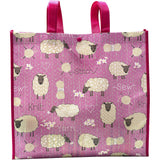 pink yarn knitting project bag with sheep and yarn