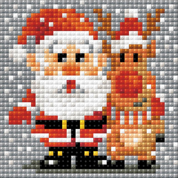 cute miniature diamond painting paint by numbers kit with santa and rudolf standing in the snow and hugging
