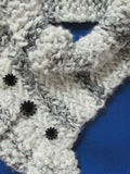 bulky cowl with ruffles and herringbone texture