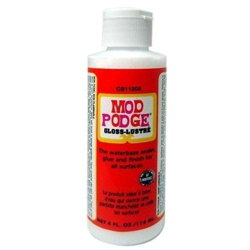 mod podge gloss lustre finish to glue layers of paper or seal crafts with a glossy finish