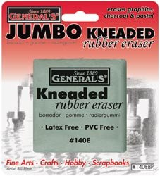 "image of a jumbo kneaded erasure from generals in it's packaging it's 2"" by 2"" and grey in color latex free"