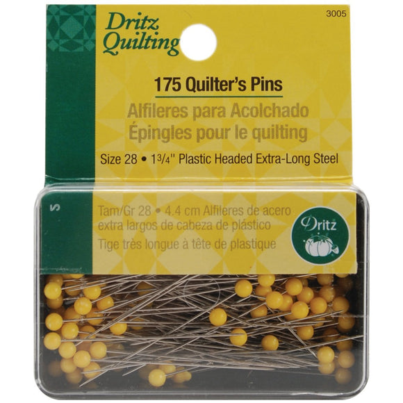 Dritz Quilter's Pins with Yellow Plastic Heads, 1¾
