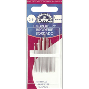 package of 16 embroidery needles in nickel plated stainless steel, sizes range from 3 to 9 and the DMC logo is prominent