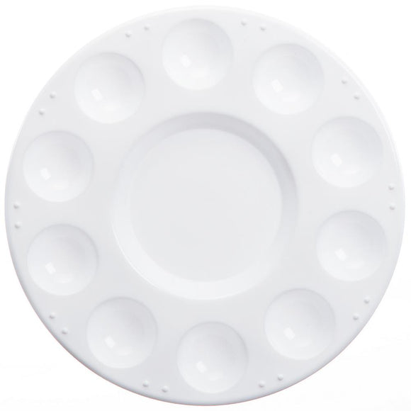 darice plastice reusable palette round 7 inches diameter with 10 paint wells and center area for mixing paints