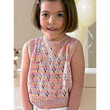 young girl wearing a sleeveless knitted vest top with a ribbed neck, arm hole and waist, the lace pattern looks like little flowers and the color of the sweater is a self patterning pastel rainbow of pink yellow  and purple