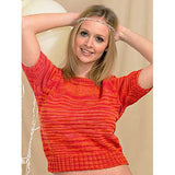 blond woman wearing a slightly cropped short sleeve sweater suitable for spring and autumn its knit in self striping colors of fiery red and orange. It features ribbing arounf the neck and sleeves, as well as a long section of ribbing that terminates in a high waist.