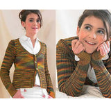 girl wearing a psychedelic rainbow cardigan with large scoop neck and entirely ribbed sleeves. the cardigan is stockinette stitch from the shoulders to chest, where there are 3 buttons to hold it closed. from the bust down the sweater is ribbed which causes it to open at the waist