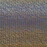 knitted swatch of lime twist painted sky shades of tan blend into stormy sky blue which blends into golden wheat colors