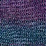 knitted swatch of knitting fever's painted sky in tahiti martini blue green fading into dark fuchsia