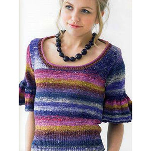 young teen wearing a colorful striped pullover with scoop neck,  tall waist ribbing and bell ha;f length sleeves. the sweater is in strioed colors of purple pink gold and blue