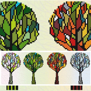composite image showing four abstract tress lined up with their leaves in different colors, spring is a canopy of pastels, summer is lots of greens, autumn features warm tones of orange and  red, while the last tree winter is shades of blue and white, the composite image also shows a close up showing the three dimensionality of the beads against the painted background