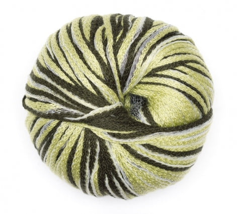 one ball of feza's cali yarn its a bulky chainette yarn in shades of light and dark green with white
