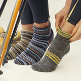 image of three ankle socks hand knit in self striping yarn in neutral tones of grey yellow blues and borwn  from the regia journal 4009 sock pattern pamphlet