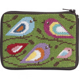 beginner needlepoint coin ourse kit, stithc & zip colorful birds