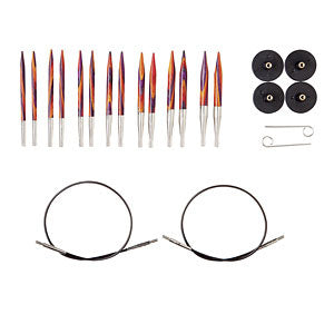 image of knit picks short radiant interchangeable knitting needles with a black 16 inch cable and bright red orange and purple wooden needles