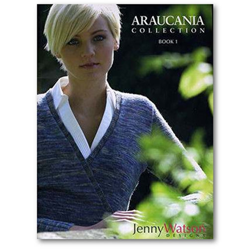 the cover of araucania collection book 1 designs by jenny watson. cover shows a woman wearing a long sleeved pullover with a wrap aroun v-neck
