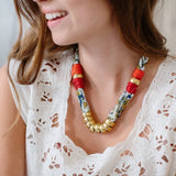 DIY summer necklace beads cotton floss fun family crafts