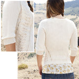 composite image showing the back and close up of Camas Lily cardigan by jennifer thompson in a soft cream color it has stockinette stitch back with lace that creeps around the waist and up along the bust a