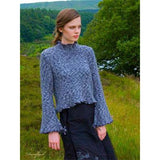 Damflask Bell Sleeved Pullover  from Louisa Harding's Winter's Muse Landscapes Pattern Book. Knit in speckled shades of blues and denim, featuring a picot edge and turtlerneck