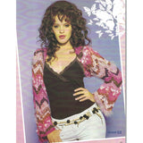 design 02 from feza collection 02 a bell sleeve bolero shrug in zigzag stripes of pinks and charcoal