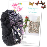 knit collage yarns double happiness cowl charcoal heather sister yarn hyacinthe purple daisy chain