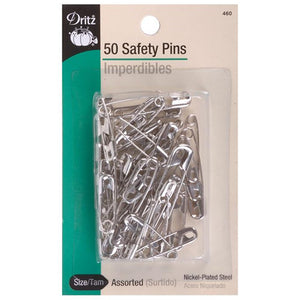 50 pack of dritz safety pins in various sizes nickel-plated steel